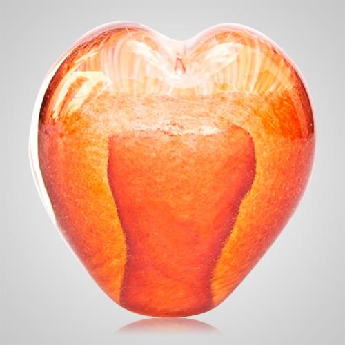 Marmalade Cremation Ash Glass Heart