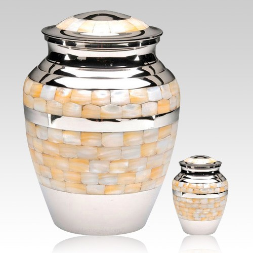 Mother of Pearl Silver Cremation Urns