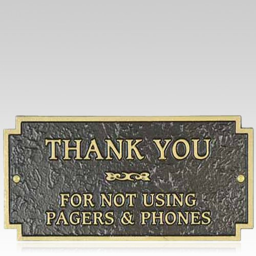 No Pagers or Phones Signage Plaque