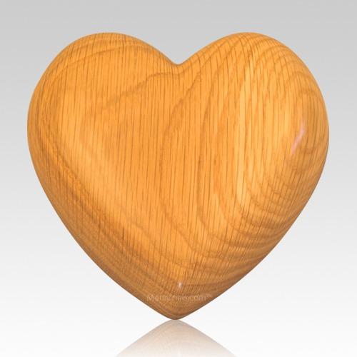 Heart Oak Wood Pet Urn