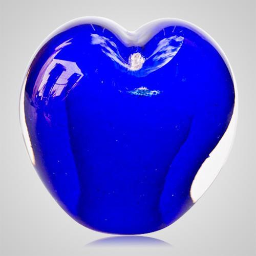 Ocean Blue Cremation Ash Glass Heart