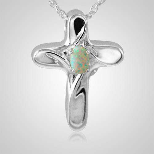 Opal Cross Cremation Jewelry