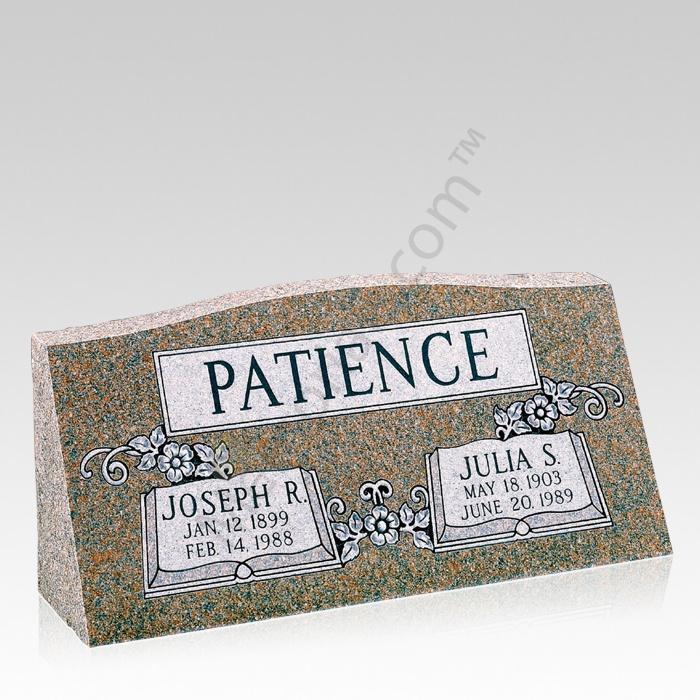 Open Bible Slant Granite Grave Marker