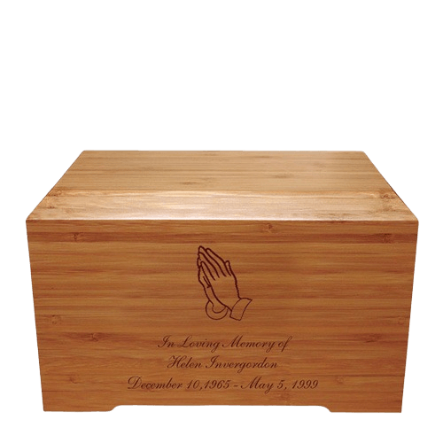 Praying Hands Bamboo Distinction Green Cremation Urn