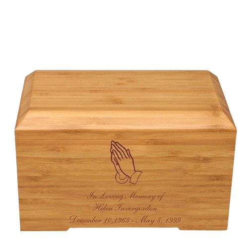 Praying Hands Bamboo Essence Cremation Urn