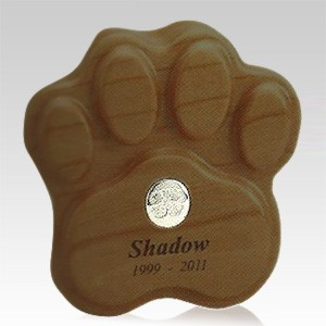 Walnut Paw Print Pet Keepsake Urn