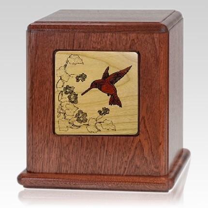 Peace Hummingbird Wood Cremation Urn