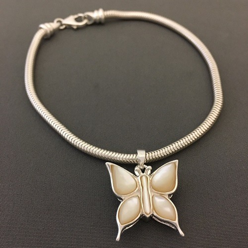 Pearl Butterfly Cremation Bracelet