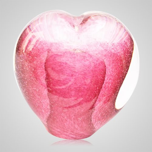 Perfect Pink Cremation Ash Glass Heart