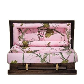 Pink Camo Wood Child Caskets