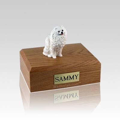 Pomeranian White Small Dog Urn
