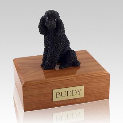 Poodle Black Sitting Dog Urns