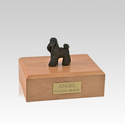 Poodle Black Standing Small Dog Urn