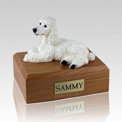 Poodle White Laying Dog Urns