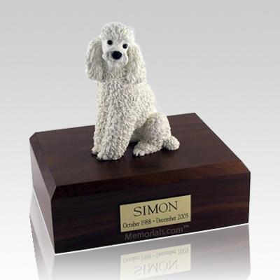 Poodle White Sitting Dog Urns