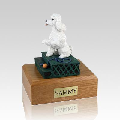 Poodle White Sport Cut Sitting Dog Urns