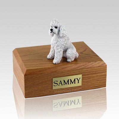 Poodle White Sport Cut Dog Urns