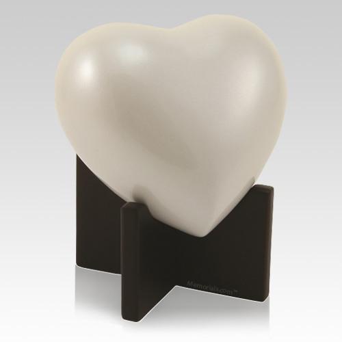 Powder Ivory Keepsake Heart Urn