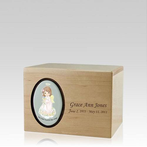 Precious Moments Brunette Girl Small Urn