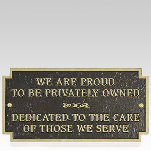 Privately Owned Signage Plaque