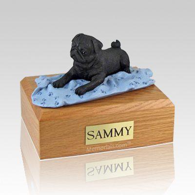 Pug Black with Blanket X Large Dog Urn
