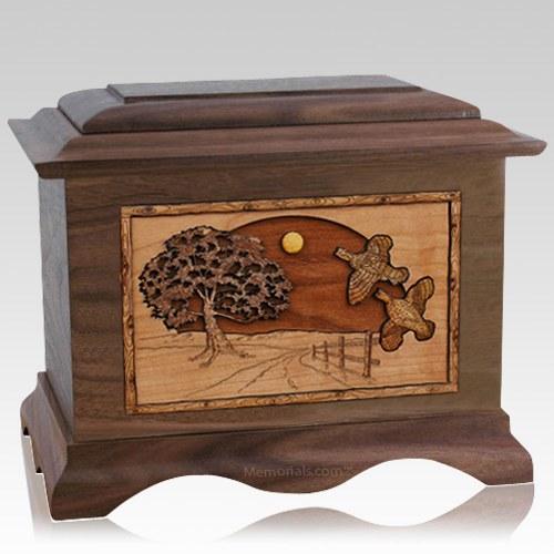 Quail Walnut Cremation Urn