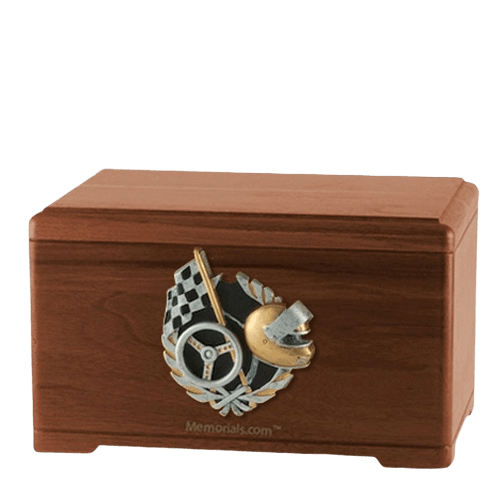 Racecar Fan Walnut Cremation Urn