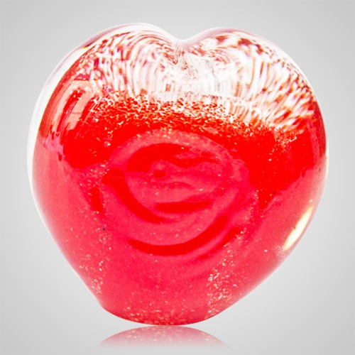 Red Cremation Ash Glass Heart