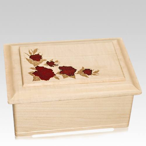 Red Roses Wood Cremation Urn