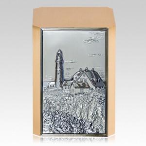 Rocky Shore Lighthouse Bronze Cremation Urn