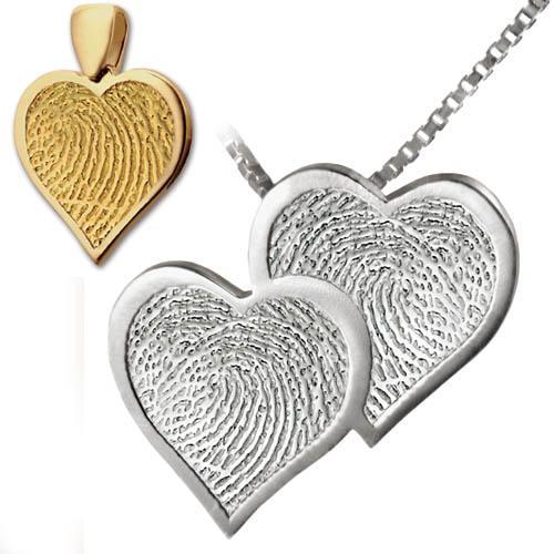Double Heart Print Keepsake