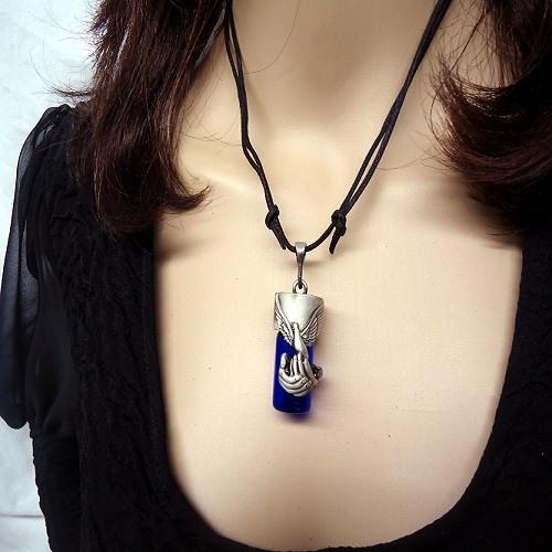 Blue cremation necklace dog blue cremation necklace aloadofball Choice Image