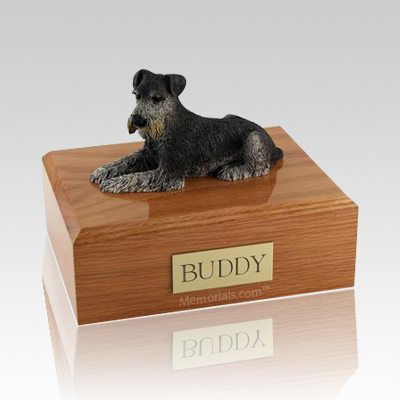 Schnauzer Black & Silver Laying Dog Urns