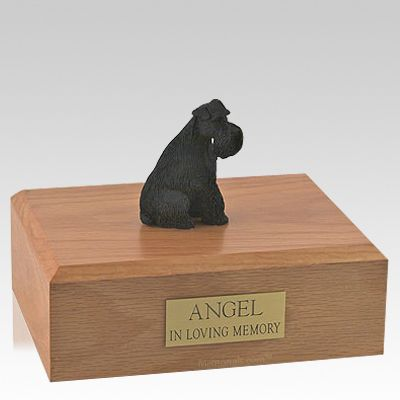 Schnauzer Black Ears Down Sitting Dog Urns