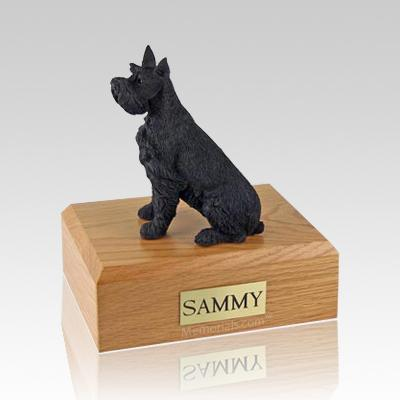 Schnauzer Black Ears Up Dog Urns