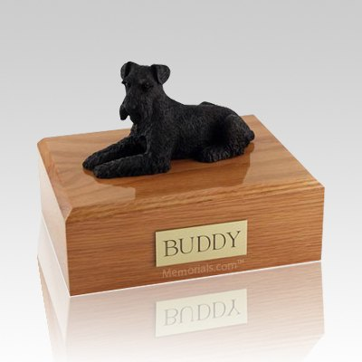 Schnauzer Black Laying Dog Urns