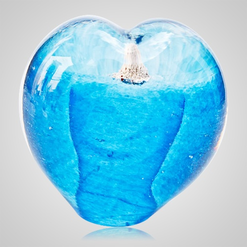 Seafoam Aqua Cremation Ash Glass Heart