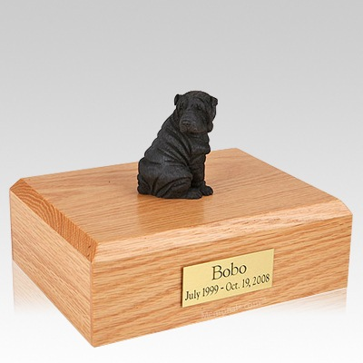 Shar Pei Black Sitting Dog Urns