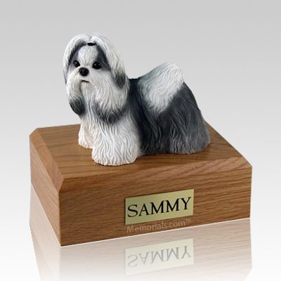 Shih Tzu Black & White Standing Dog Urns