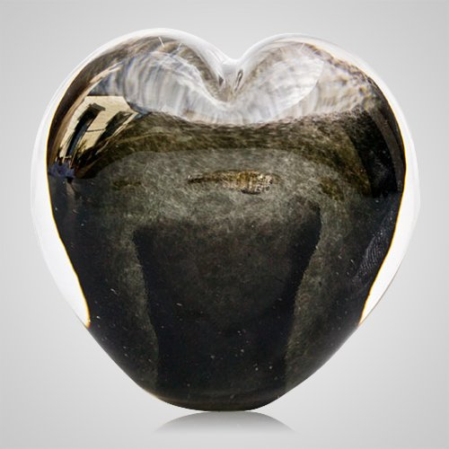 Slate Gray Cremation Ash Glass Heart