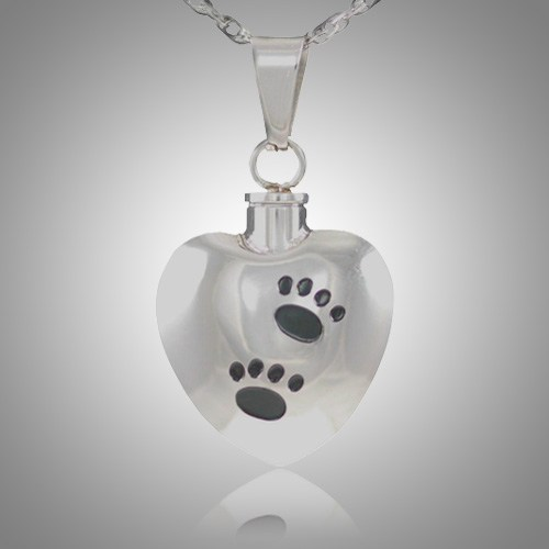 Black Pet Paw Print Heart Cremation Jewelry V
