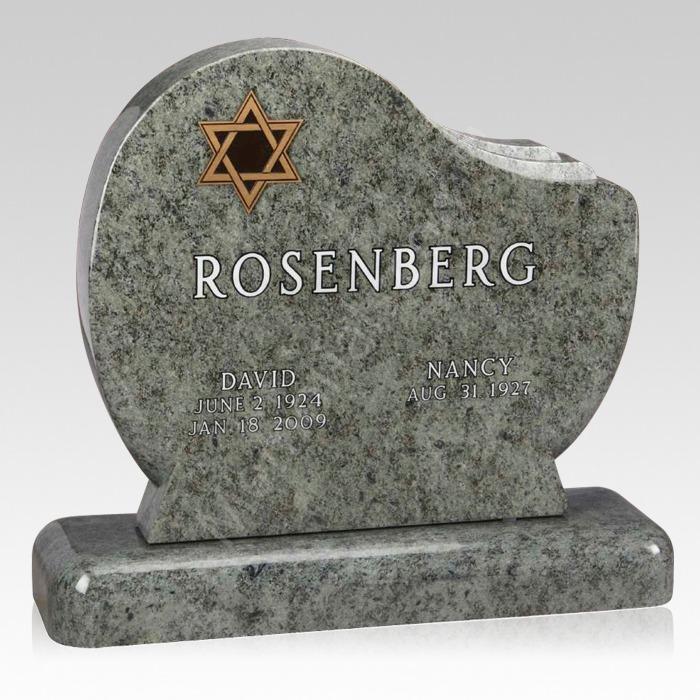 Star of David Upright Cemetery Headstone