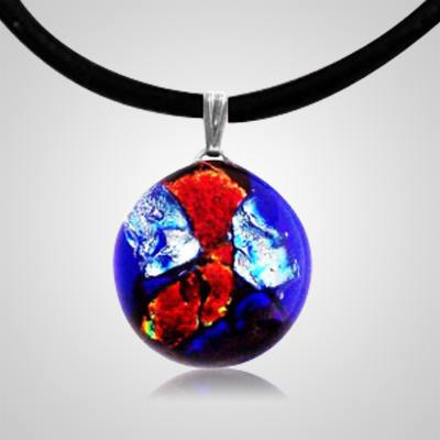 Sunset Dichroic Round Glass Ash Pendant