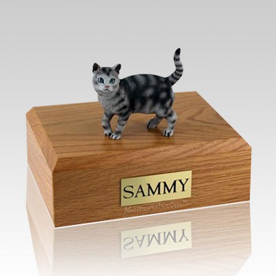 Tabby Silver Standing Large Cat Cremation Urn