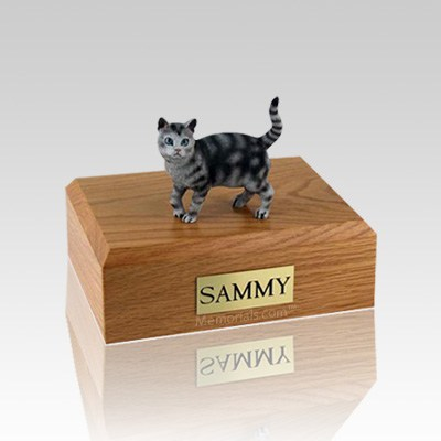 Tabby Silver Standing Small Cat Cremation Urn