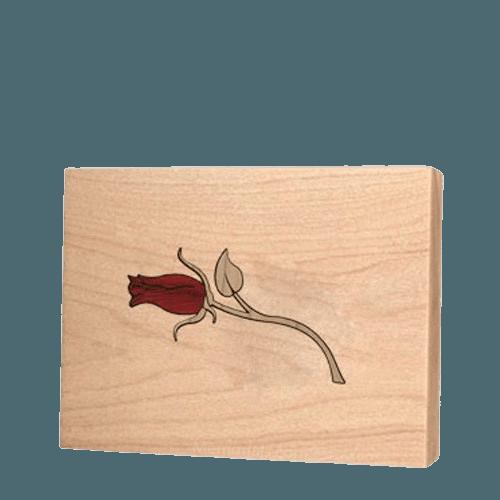 Tea Rose Children Keepsake Wood Urn