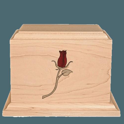 Tea Rose Children Wood Urn