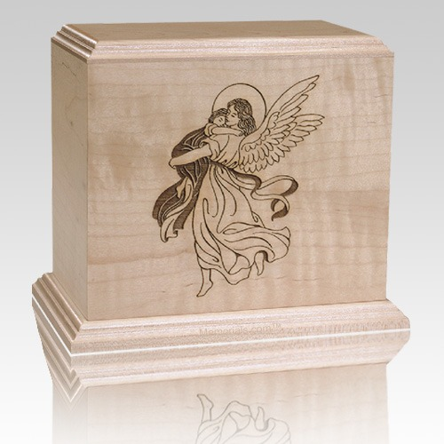 Angel & Child Wood Cremation Urn