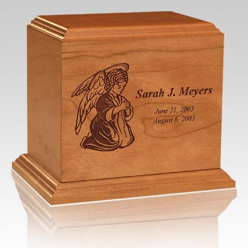 Personalized Angel Wood Children Infant Cremation Urn