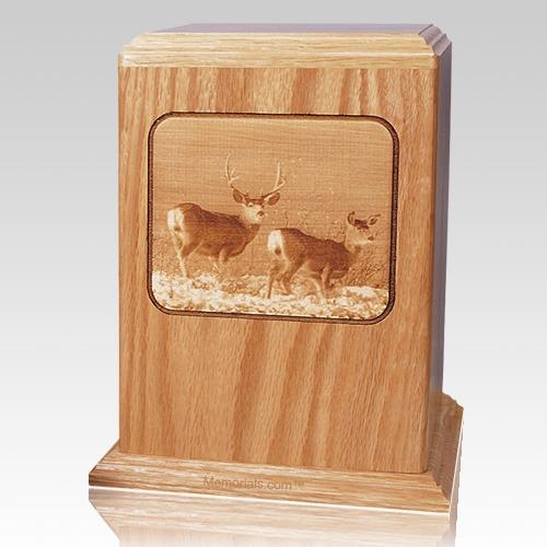 Deer Oak Wood Cremation Urn